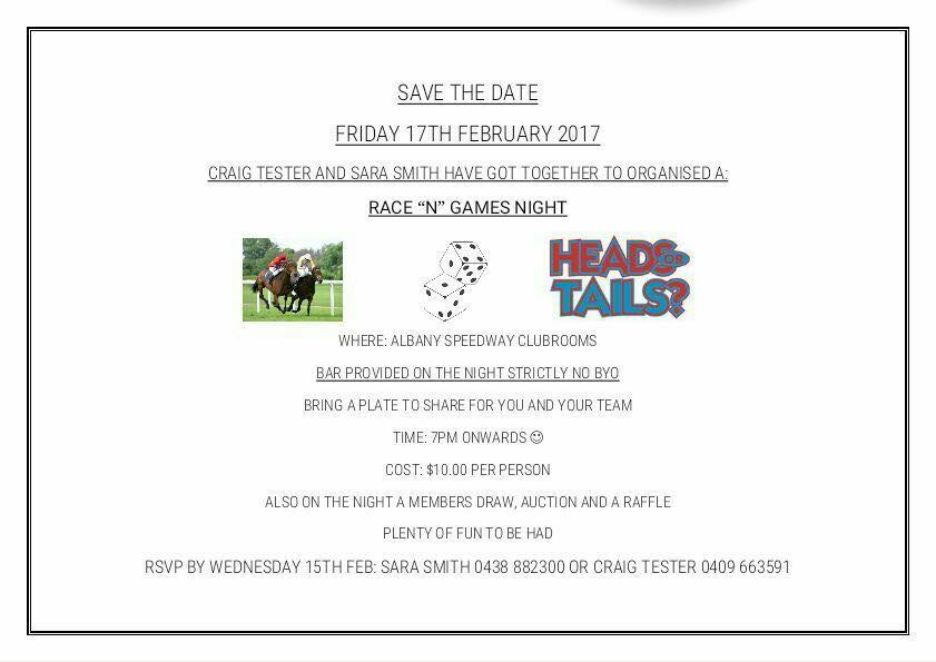 Race 'N' Games night – Friday February 17